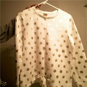 long sleeve white shirt with gold polka dots